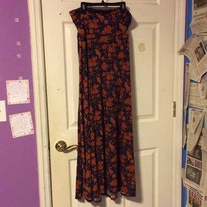 Lularoe orange blue and pink maxi skirt